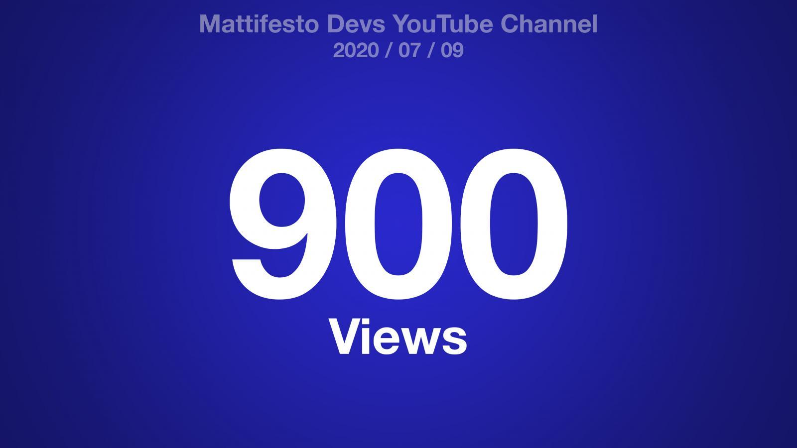 Blue gradient with the text: Mattifesto Devs YouTube Channel 2020/07/09 900 Views