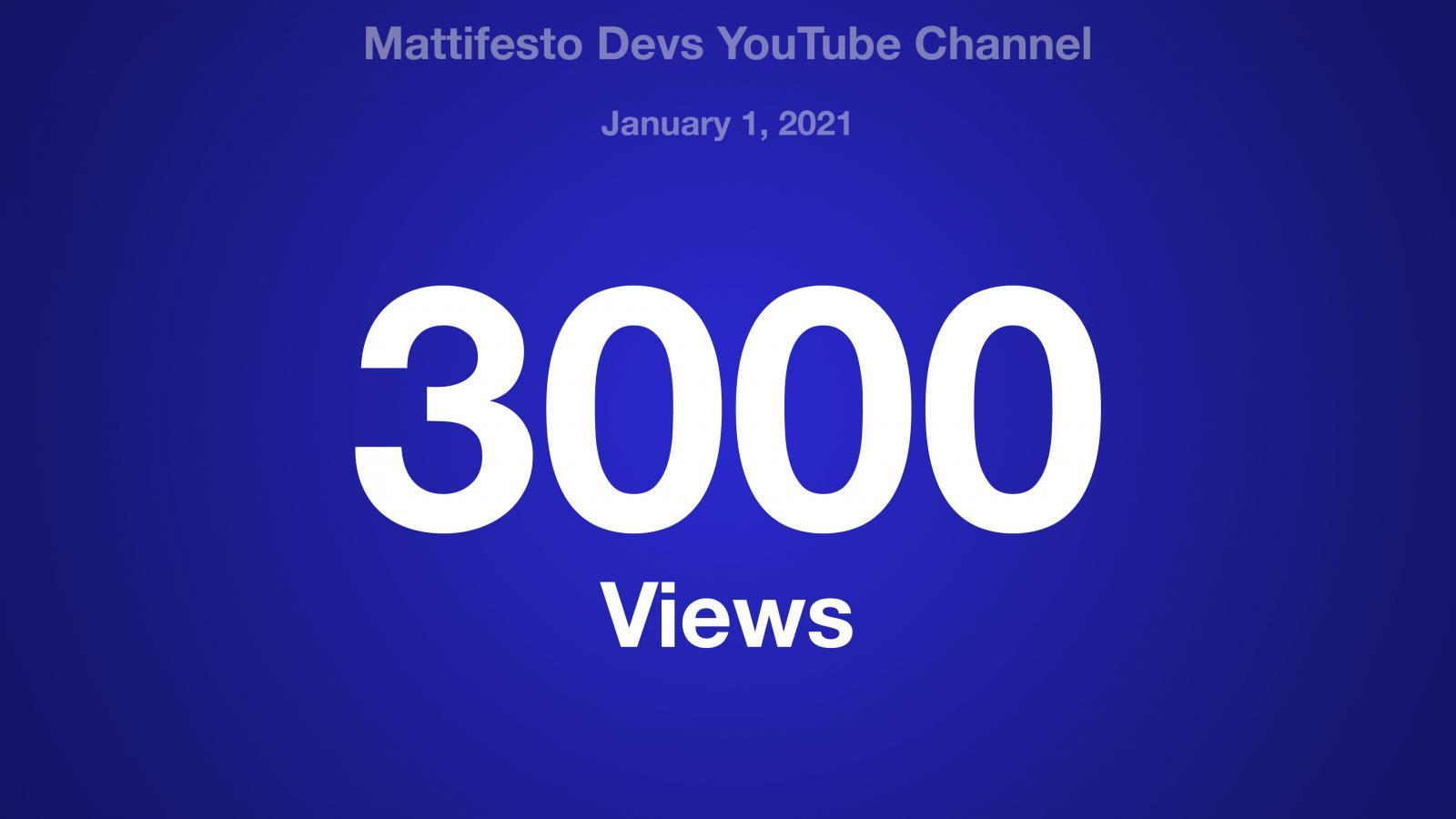 Mattifesto Devs YouTube Channel, January 1, 2021, 3000 Views