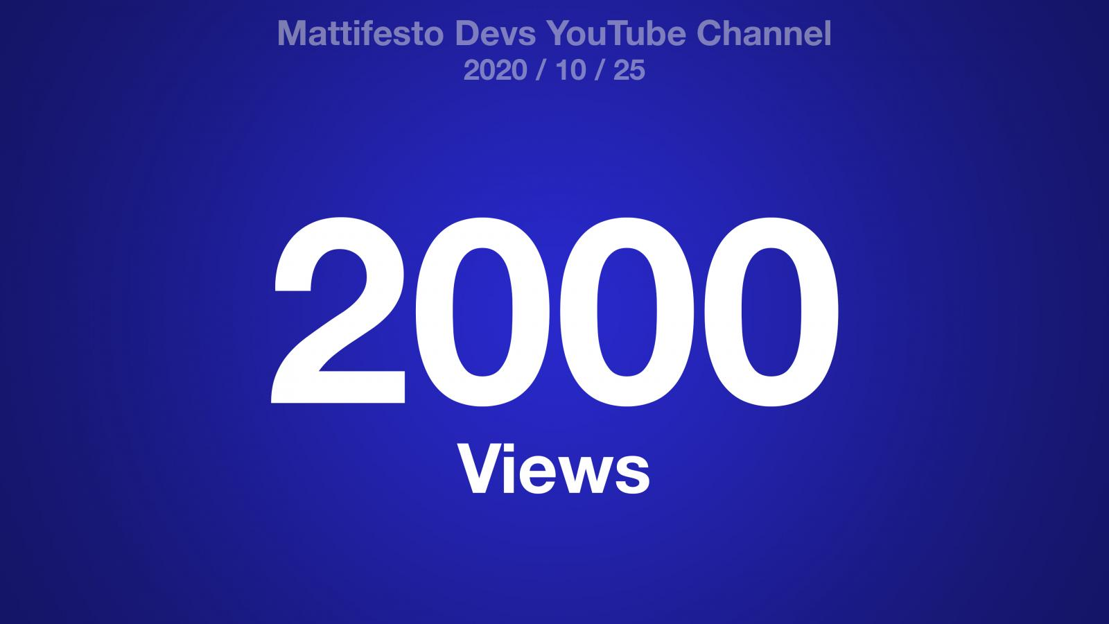 A blue radial gradient with the text: Mattifesto Devs YouTube Channel 2020/10/25 2000 Views