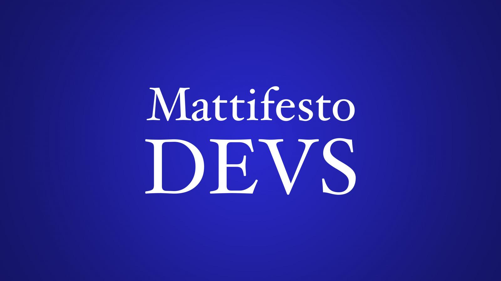 Blue radial gradient and the text: Mattifesto DEVS
