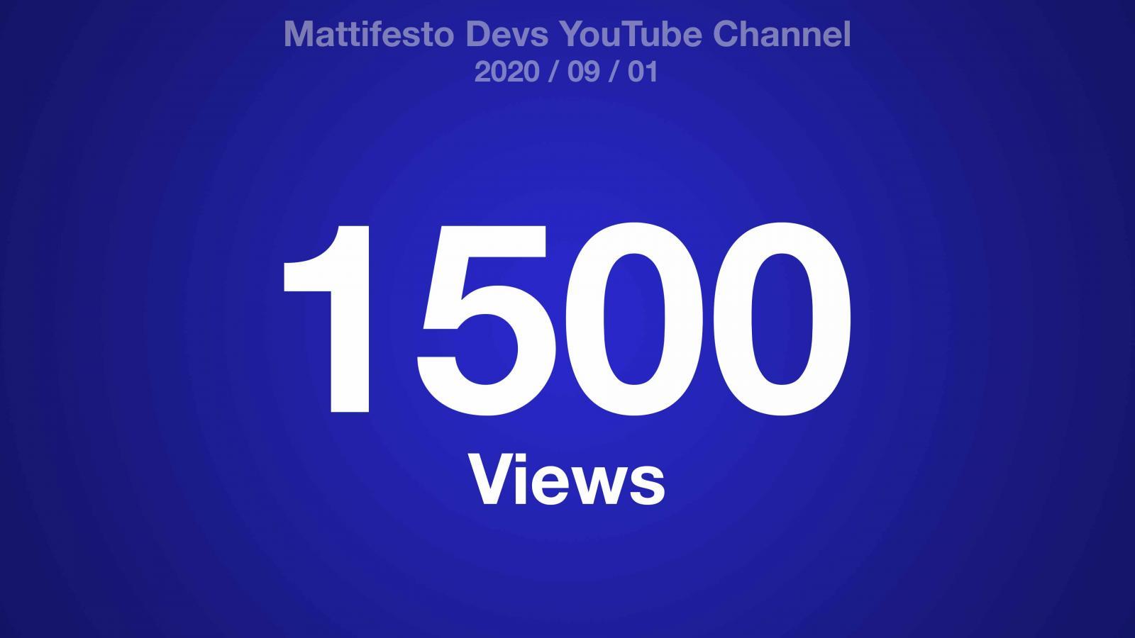 A blue radial gradient with white text: Mattifesto Devs YouTube Channel 2020/09/01 1500 Views